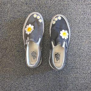 Handmade Gray Slip On Sunflower Vans